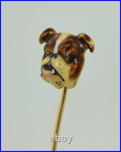 14K Victorian English Bull Dog Enamel & Diamond Stick Pin