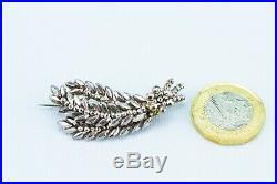 1840 Brooch Cut Steel Wheat Sheaf Silver Medium Antique English Victorian Retro
