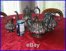 1853 English Victorian Sterling Silver 4 piece Tea Coffee Set Superb Detail