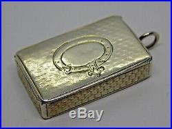 1855 Victorian English Sterling Silver Snuff Box. Trinket/pill/snuff. (ncb)