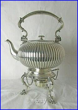 1873 English Elkington & Co Spirit Kettle Original Burner Holds 16 Cups