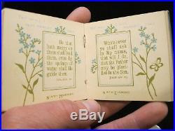 1880s MINIATURE BIBLE 3 orig Box Illuminated Pages ANTIQUE BOOK Victorian Era