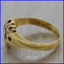 1890 Victorian 18k Yellow Gold English Hallmarks 0.25ctw Diamond Cluster Ring