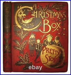 1892 Victorian Christmas Book Antique Children Dolls Dogs Cats Mcloughlin Bros