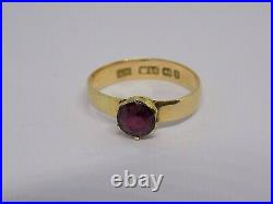 1898 Victorian Antique 18ct Gold Garnet Gemstone Ring. Size P-q English Hallmark