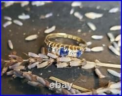 18k Gold Diamond and Sapphire Victorian Antique English Ring, Size 7.75