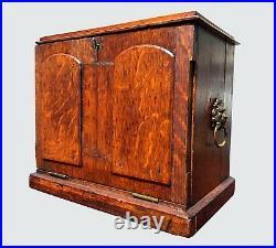 19th C. English Tiger Oak Antique Victorian Desk Top Letter / Document Box