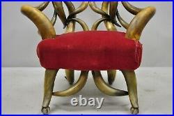 19th C Victorian Antique Steer Horn Parlor Club Lounge Chair Glass Ball Feet