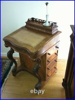 A Fine Victorian Burr Walnut Davenport Ladies Writing Desk (C 1860 England)