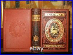 AMERICAN POEMS EDGAR ALLAN POE/BRYANT/EMERSON Antique Victorian Binding