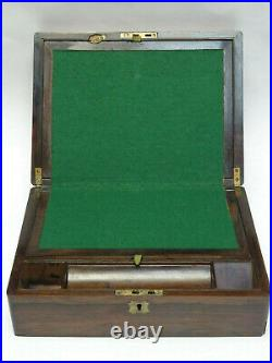 ANTIQUE 19 c. ENGLISH CAMPAIGN WRITING BOX with INLAID BRASS