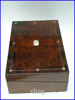 ANTIQUE 19 c. ENGLISH CAMPAIGN WRITING BOX with INLAID MOTHER OF PEARL