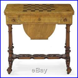 ANTIQUE CHESS TABLE English Victorian Games & Work Table, Walnut, C. 1860-80