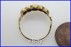 ANTIQUE EARLY VICTORIAN ENGLISH 15K GOLD NATURAL TURQUOISE 5 STONE RING c1840