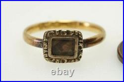 ANTIQUE EARLY VICTORIAN ENGLISH 18K GOLD HAIR LOCKET MOURNING RING c1830