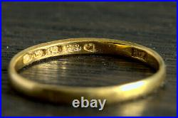 ANTIQUE EARLY VICTORIAN ENGLISH 22K GOLD BAND WEDDING RING LONDON 1843 2.3mm