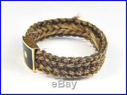 ANTIQUE EARLY VICTORIAN ENGLISH GOLD ENAMEL WOVEN HAIR MOURNING RING c1840