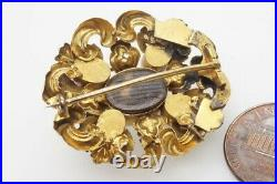 ANTIQUE EARLY VICTORIAN ENGLISH PINCHBECK NATURAL AQUAMARINE BROOCH c1850