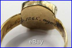 ANTIQUE ENGLISH 15K GOLD AGATE ANTELOPE CREST SIGNET RING c1865 YATES ROYAL NAVY