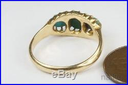 ANTIQUE ENGLISH 15K GOLD TURQUOISE THREE STONE RING c1890