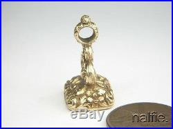 ANTIQUE ENGLISH EARLY VICTORIAN GOLD CARNELIAN AGATE INTAGLIO SEAL FOB c1840