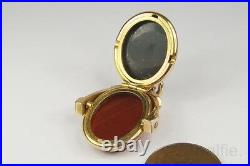 ANTIQUE ENGLISH LATE VICTORIAN 10K GOLD & AGATE HIDDEN LOCKET SPINNER FOB c1890