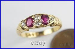 ANTIQUE ENGLISH LATE VICTORIAN 18K GOLD RUBY & DIAMOND RING c1901