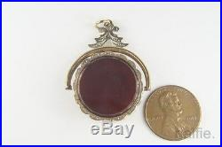 ANTIQUE ENGLISH LATE VICTORIAN GOLD AGATE SPINNER FOB with HIDDEN LOCKET c1890