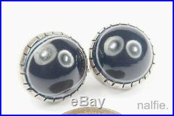 ANTIQUE ENGLISH SILVER BANDED AGATE BULLSEYE CABOCHON EARRINGS c1880