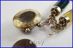 ANTIQUE ENGLISH SILVER GILT / GOLD AGATE BRACELET with PADLOCK LOCKET CLASP c1870