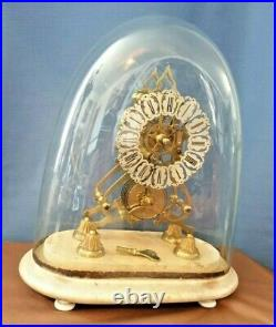 ANTIQUE ENGLISH SKELETON CLOCK 8 day fusee working order, with glass dome