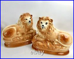 ANTIQUE ENGLISH STAFFORDSHIRE LIONS Late 19c-early 20c WITH GLASS EYES