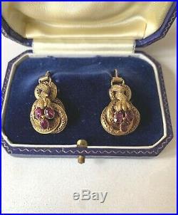 ANTIQUE ENGLISH VICTORIAN 15K GOLD ALMANDINE GARNET EARRINGS circa 1860-70's
