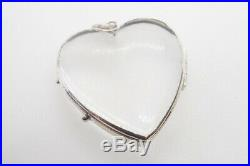 ANTIQUE ENGLISH VICTORIAN LARGE SILVER GLAZED HEART LOCKET c1880
