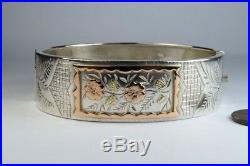 ANTIQUE ENGLISH VICTORIAN PERIOD SILVER & GOLD FLORAL BANGLE c1883