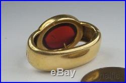 ANTIQUE LATE VICTORIAN ENGLISH 15K GOLD GARNET SCARF / CRAVAT CLIP c1890