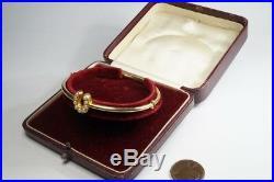 ANTIQUE LATE VICTORIAN ENGLISH 15K GOLD PEARL HORSE SHOE BANGLE / BRACELET c1890