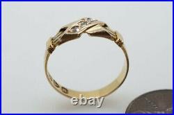 ANTIQUE LATE VICTORIAN ENGLISH 18K GOLD DIAMOND CROSS TRILOGY RING c1896