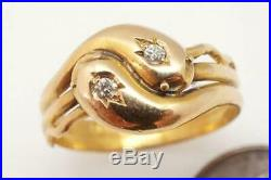 ANTIQUE LATE VICTORIAN ENGLISH 18K GOLD DIAMOND ENTWINED SNAKES RING c1899