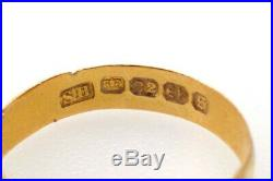 ANTIQUE LATE VICTORIAN ENGLISH 22K GOLD SMALL PLAIN WEDDING BAND RING c1896