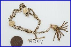 ANTIQUE LATE VICTORIAN ENGLISH 9K GOLD ALBERTINA WATCH CHAIN BRACELET c1890