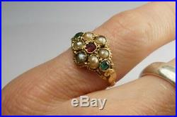ANTIQUE MID VICTORIAN ENGLISH 15K GOLD PEARL EMERALD & RUBY CLUSTER RING c1850