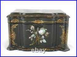 ANTIQUE TEA CADDY BOX PAPIER MACHE MOTHER OF PEARL ABALONE English C1875