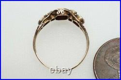 ANTIQUE VICTORIAN ENGLISH 12K GOLD ALMANDINE GARNET & PEARL 5 STONE RING c1870