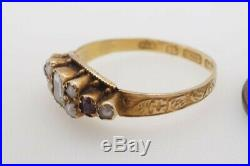 ANTIQUE VICTORIAN ENGLISH 15K CRYSTAL RUBY & PEARL RING c1870