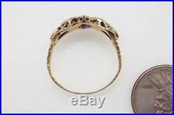 ANTIQUE VICTORIAN ENGLISH 15K GOLD ALMANDINE GARNET & EMERALD PASTE RING c1872