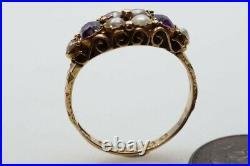 ANTIQUE VICTORIAN ENGLISH 15K GOLD ALMANDINE GARNET & PEARL RING c1873
