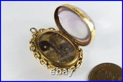 ANTIQUE VICTORIAN ENGLISH 15K GOLD AMETHYST HAIR MEMENTO LOCKET PENDANT c1880