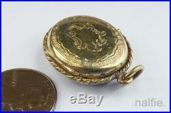 ANTIQUE VICTORIAN ENGLISH 15K GOLD BLUE ENAMEL & PEARL LOCKET PENDANT c1880