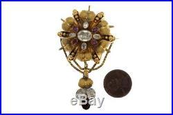 ANTIQUE VICTORIAN ENGLISH 15K GOLD CRYSTAL & GARNET LOCKET BACK BROOCH c1870